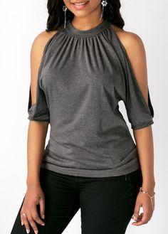 Cold Shoulder Tie Back Grey Blouse Blouse Patterns, Clothing Patterns, Unique Outfits, Beautiful Outfits, Gharara Pants, Blouse Outfit, Grey Blouse, Grey Tie, Older Women Fashion