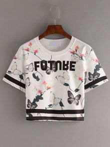 Letter & Butterfly Print Crop T-shirt - White