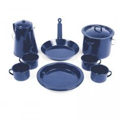 Campfire Enamel Cook Set - Kelly's Camping and Outdoors Store Weekend Camping Trip, Camping Set, Camping Stove, Camping And Hiking, Camping Meals, Camping Cooking Equipment, Kitchenware, Tableware, Cabin Kitchens