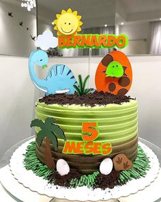 Dinasour Birthday Cake, Animal Birthday Cakes, Dinosaur Birthday Party, Unicorn Party, Boy Birthday, Dinosaur Cupcake Cake, Dino Cake, Die Dinos Baby, Baby Dino