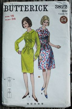 Butterick 3822 1960s 60s Pleated Mod Sheath by EleanorMeriwether