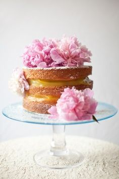 Lemon and Lavender Naked Cake