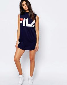 Image 4 of Fila T-Shirt Dress With High Neck & Large Front Logo