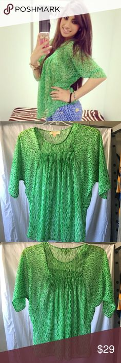 Michael Kors Top Worn only ONCE!! Beautiful green patterned, flowy top from Michael Kors 2013 Spring Collection. Can be worn casual and dressy, great for spring and summer! Michael Kors Tops Blouses