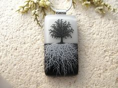 Tree Necklace  Fused Glass Jewelry  Tree of Life  by ccvalenzo, $29.00