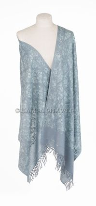 Embroidered Dress Shawl - Quiet Steel Blue Gray.    Perfect for weddings, especially Mother of the Bride Shawl or Mother of the Groom Shawl! Also great for dressy casual occasions.