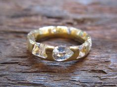 Polly Whales  Cut White Sapphire and 18k Gold Ring