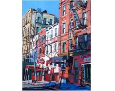 West Village on Grove Street, NYC red white blue Print from Painting by Gwen Meyerson Denmark Landscape, Sky Landscape, Abstract Landscape Painting, Landscape Wallpaper, Landscape Drawings, Fantasy Landscape, Landscape Paintings, Landscapes, Paisajes