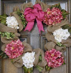 Valentine wreath, Burlap Hydrangea wreath, Spring Wreath, Year round wreathâ?¦