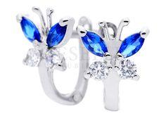 Urocze, srebrne kolczyki dla małej dziewczynki - delikatne motylki z niebieskimi skrzydełkami | SREBRO \ Kolczyki od GESELLE Jubiler