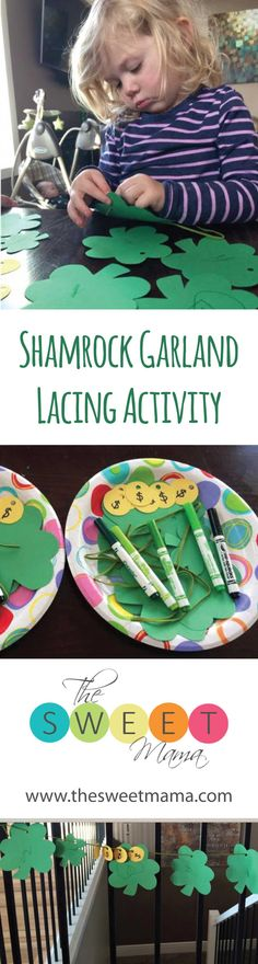 This activity will have your preschooler threading shamrocks & coins to make the cutest St Patty's Day garland! St Pattys, Threading, Fine Motor Skills, Crafts To Do, Garland, Preschool, Coins, Kids Rugs, Activities