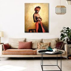 Sexy Naked African Americans Girl Printed Painting on Canvas Wall Art Nude Prints Picture for Home Decoration or Hotel Framed (50x60cm)