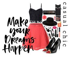 """""""Make Your Dreams Happen"""" by angelstylee ❤ liked on Polyvore featuring LE3NO, Lipsy, Yves Saint Laurent, Maison Michel, Accessorize, NARS Cosmetics, Lime Crime, Forever 21, MAC Cosmetics and Marc Jacobs"""