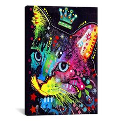 iCanvas 'Thinking Cat Crowned' by Dean Russoon Graphic Art on Canvas