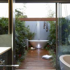 modernes badezimmer ideen dusche tropisch