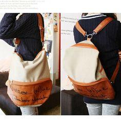nueva moda 2013 mujeres señora mochilas de lona con la pu de bolsillo y correa para el hombro 1 pieza bolsa