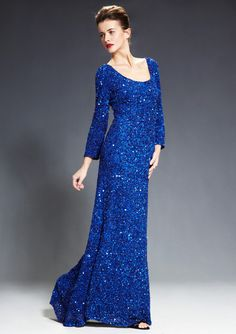 THEIA  Three-Quarter Sleeve Sequin Gown