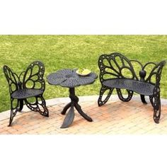 $770.00  (CLICK IMAGE TWICE FOR UPDATED PRICING AND INFO) Discount Patio Furniture Sets - Butterfly Garden Set - FHBFSET3B - Black  - See More Butterfly Chairs at http://www.zbuys.com/level.php?node=3925=butterfly-chairs