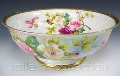 LIMOGES FRANCE HAND PAINTED ROSES CENTER-BOWL