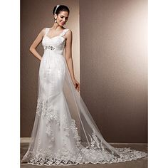 Sheath/Column Straps Court Train Tulle Wedding Dress – GBP £ 97.39