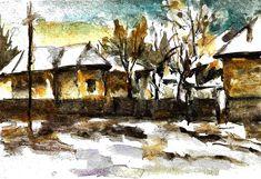 Rural Painting - Rural Corner by Cuiava Laurentiu Greeting Cards, Corner, Art Prints, Wall Art, Winter, Painting, Ideas, Art Impressions, Winter Time