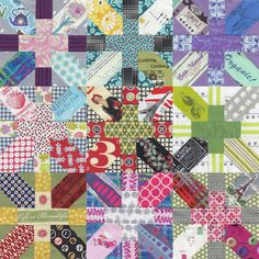 """Gone Aussie Quilting: Progress with Japanese + and X Quilt"" Gorgeous. I love these fabrics, especially the ones that look like ads. All the fabrics have a vintage look to them."