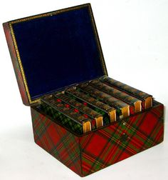 Stunning set of Sir Walter Scott's Poetical Works in Tartan & Mauchline Ware Bindings, with the original Tartan/Mauchline Ware Box. This set is rare and in such beautiful condition.