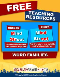 Use word families/phonograms to teach beginning spellers. Help students practice with learning games using word lists from VocabularySpellingCity. //www.spellingcity.com/word-families.html.
