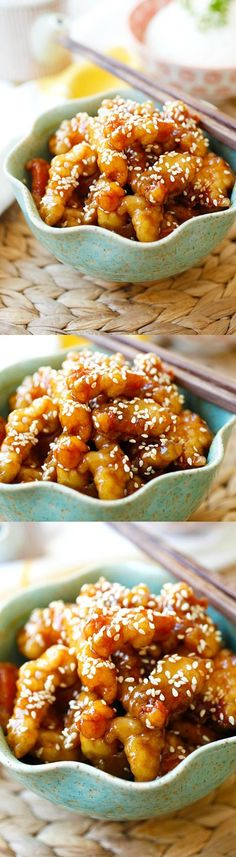 Sesame Chicken - crispy chicken with sweet, savory sauce with sesame seeds. Best and easiest recipe that is better than Chinese takeout | rasamalaysia.com #chinesefoodrecipes