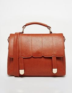ASOS   ASOS Scallop Stitch Satchel Bag at ASOS