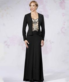 cef8a45a908 ANTI Black Mother Of The Bride Dresses With Jacket Plus Size Elegant For  Wedding Party Gowns