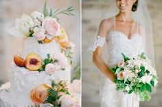Sierra and Chase Wedding – Sunstone Winery -- that cake! love the blossoms & slices of fruit