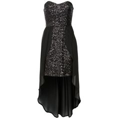 Black Sequin Bandeau Dip Hem Dress ($24) ❤ liked on Polyvore featuring dresses, chiffon party dress, going out dresses, graduation dresses, sequin dress and cocktail party dress