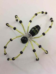 Beaded Christmas Spider / Window Ornament - black & lime green - ShopHandmade