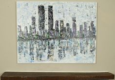 """ARTFINDER: """"Reflections"""" by Lucy Moore - I Will Ship globally, please message me  for prices   This piece is my abstract city scape of Manhattan, I painted this and included the twin towers, the t..."""