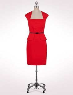 Misses | Dresses | Solid Belted Peplum Dress | dressbarn