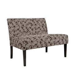 @Overstock - The Portfolio Niles armless settee features a gently tapered back and deep seat cushion for extraordinary comfort. The Niles settee is covered in a creamy leafy vine design on a chocolate brown background.http://www.overstock.com/Home-Garden/Portfolio-Niles-Chocolate-Brown-Vine-Settee/7258512/product.html?CID=214117 CAD              381.77