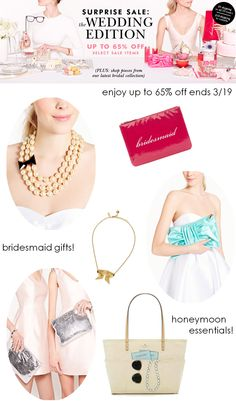 The @kate spade new york surprise sale starts today! enjoy up to 65% off sale items! The prettiest wedding accessories and bridesmaid gifts. ends 3/19. Click through for details http://rstyle.me/n/y8ybn2bn