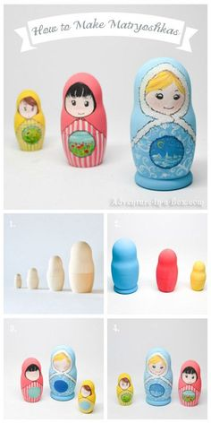 Learn how to make matryoshka nesting dolls. These wooden dolls are a great DIY toys and multicultural crafts for kids.