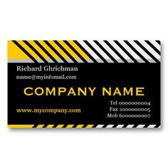 #Modern diagonal  #stripes #black, #yellow, grey construction #businesscards #templates. See more business cards here  http://www.zazzle.com/justbusinesscards?rf=238228936251904937=zBookmarklet