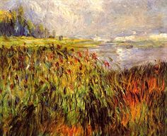 bofransson: Bulrushes on the Banks of the Seine Pierre Auguste Renoir - 1874 Pierre Auguste Renoir, Renoir Paintings, Landscape Paintings, Landscapes, Claude Monet, William Glackens, August Renoir, Rio Sena, French Impressionist Painters