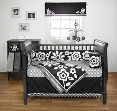 Amazon.com : Bananafish Zia Crib Set, Black/White, 3 Piece : Crib Bedding Sets : Baby
