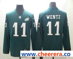 014d470d134 Men's Philadelphia Eagles #11 Carson Wentz Nike Green Therma Long Sleeve  Limited Jersey