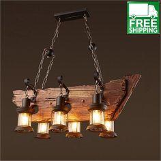 Industrial Wood Beam Six Hanging Bulb Chandelier Light