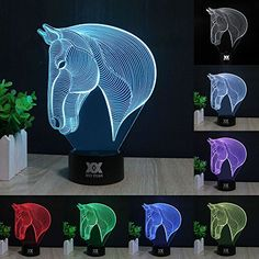 3D Lamp Touch Control LED Night Lights Decor Lights Horse Head Image 7 Colours Changes Best Gifts for Kid and RoomDest Decoration >>> Want additional info? Click on the image.