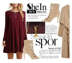 """Shein Wine Red Dress"" by fattie-zara ❤ liked on Polyvore featuring Joie and Yves Saint Laurent"