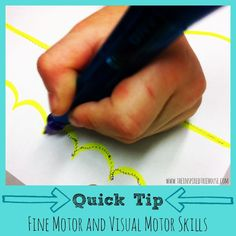 Here's a quick tip for visual motor and fine motor practice with kids.  Make different-shaped lines on a piece of paper using highlighter (zig zag, loops, curves, etc.).  Have children trace the lines with the Squiggle Wiggle Writer, a pen that vibrates. This is excellent practice for developing precise motor control of the hand. Once they have mastered tracing lines, try tracing shapes, pictures, or their name. The vibration promotes concentration and also provides incredible sensory…