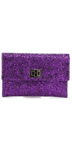 Anya Hindmarch Two Tone Glitter Valorie Clutch in our fave colour