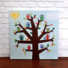Owl Family  Canvas Wall Art van VickyBaroneDesigns op Etsy