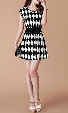 Elegant Lady Elastic Waist Round Collar Rhombus Dress – Dress Me Good